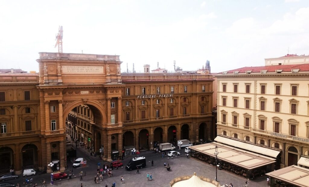 The view of Piazza della Reppublica from the terrace of Caffe La Terrazza in Florence