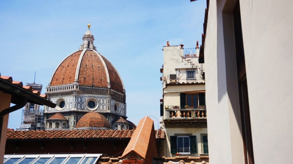 The view of Duomo in Florence from Caffetteria delle Oblate