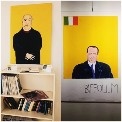 Artystyczne obrazy w kawiarni Libri Liberi we Florencji