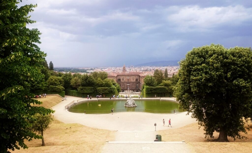 The view of Florence in the Boboli Gardens in Florence