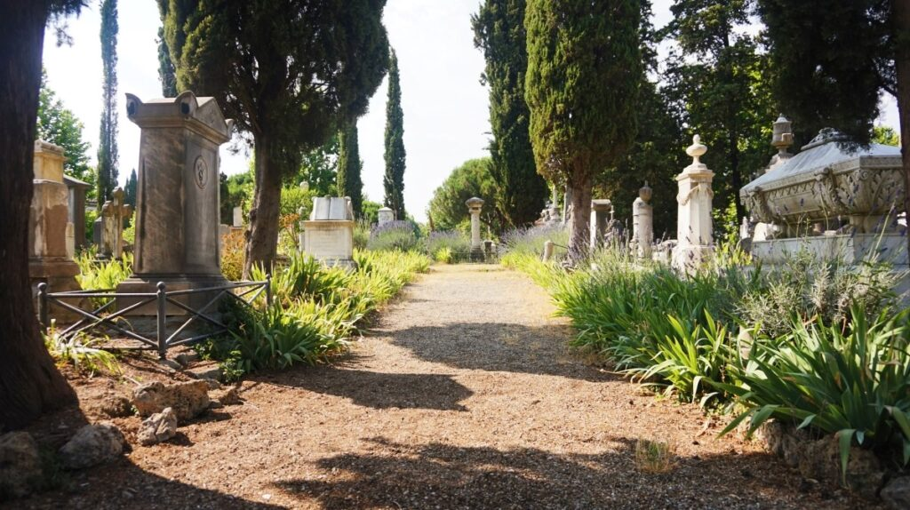 The view of the English Cemetery in Florence
