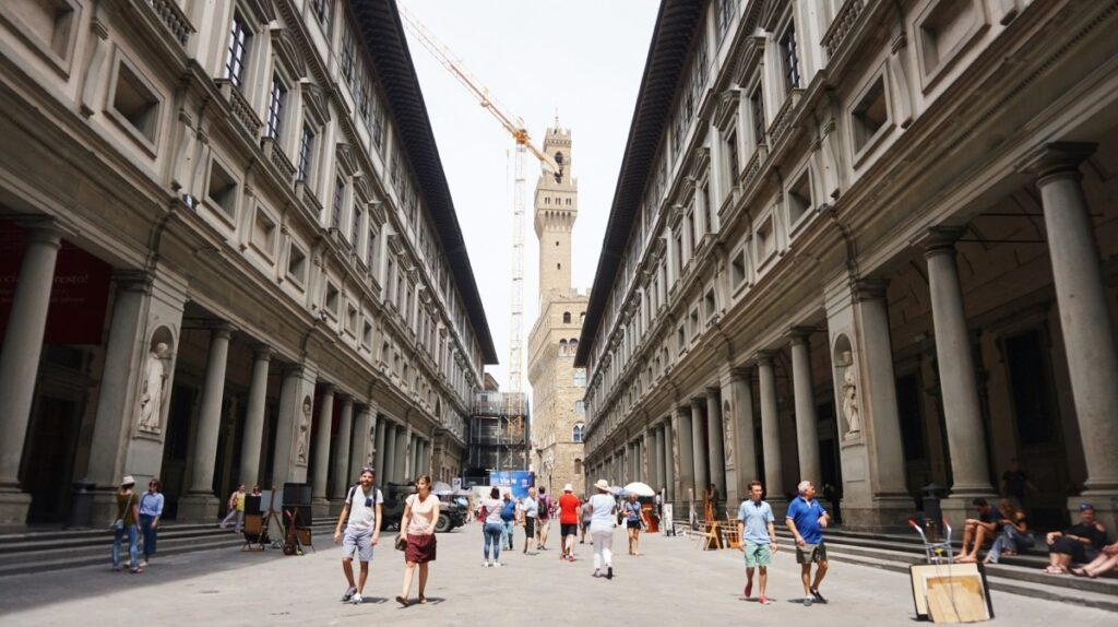 Photo of the Uffizi Gallery in Florence, Italy
