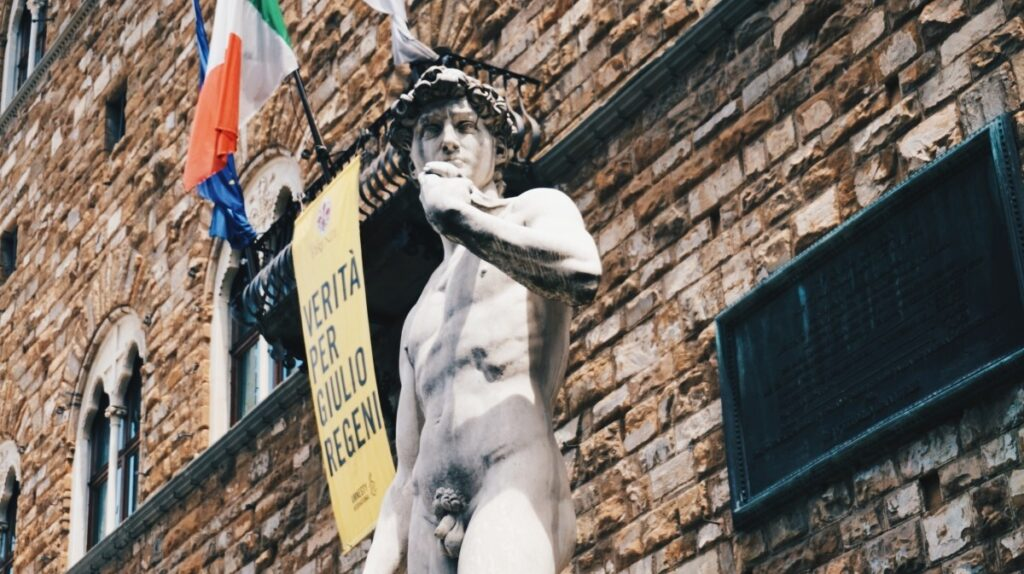 the copy of the David sculpture in Piazza della Signoria in Florence