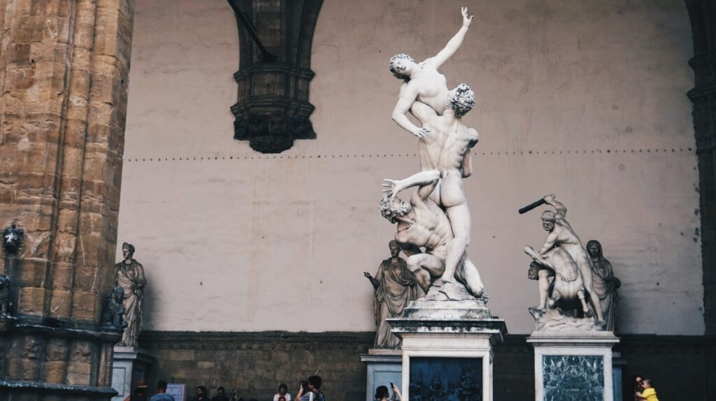 Sculptures in Loggia dei Lanzi in Florence