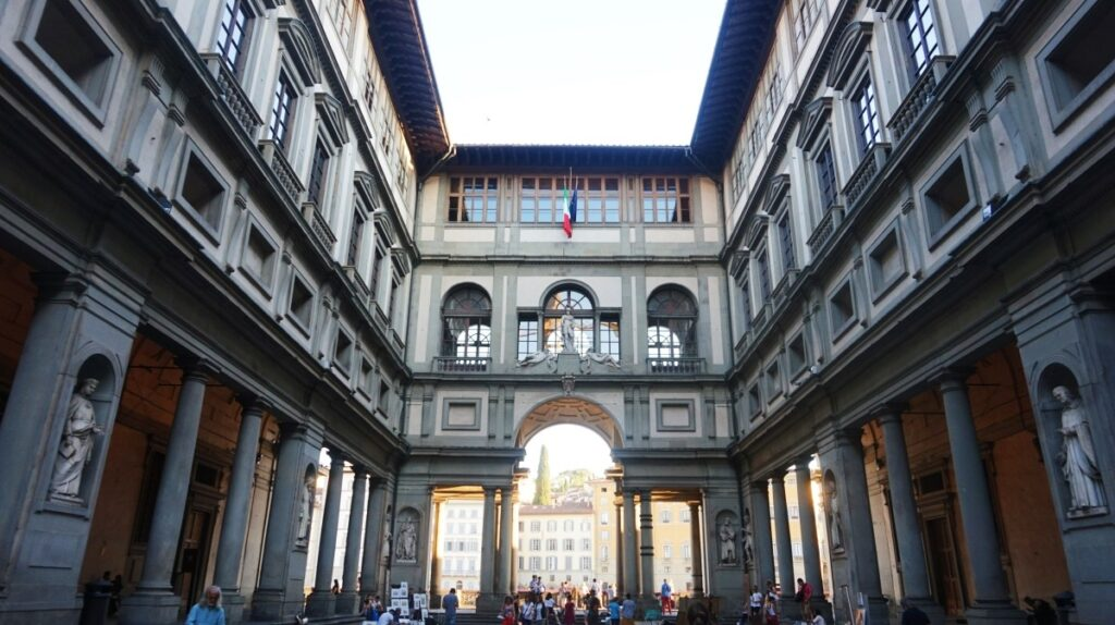 In front of the Uffizi Gallery in Florence