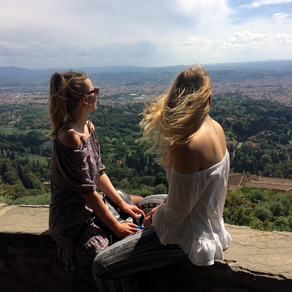 Admiring Fiesole with a friend