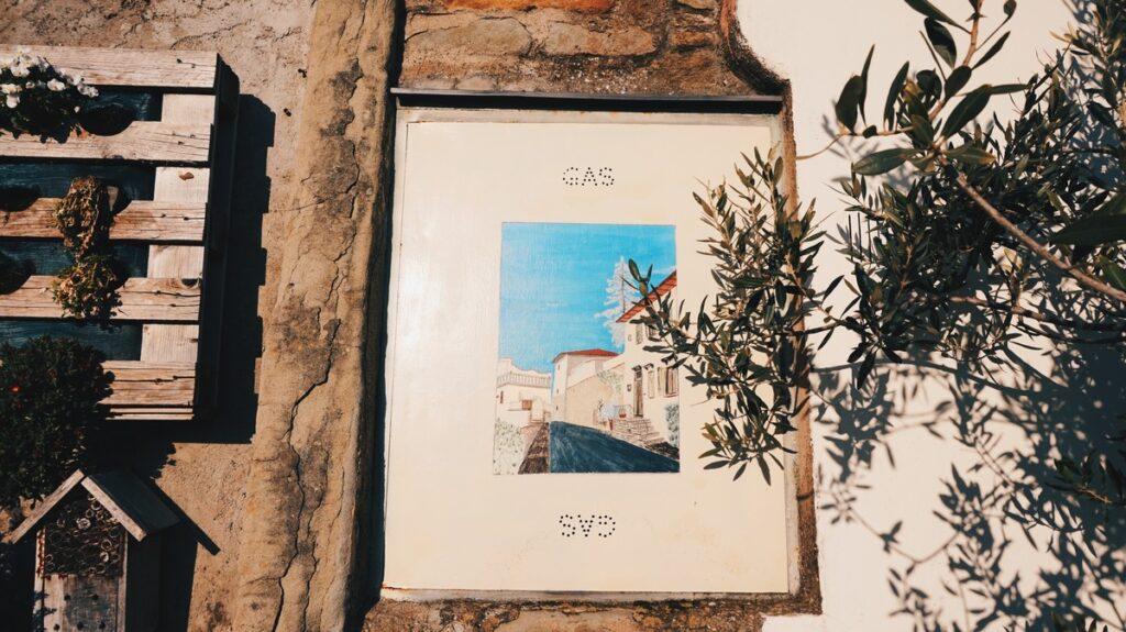 Obraz namalowany na ścianie w Fiesole