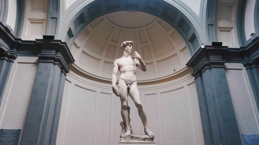 Michelangelo's David sculpture in the Accademia Gallery