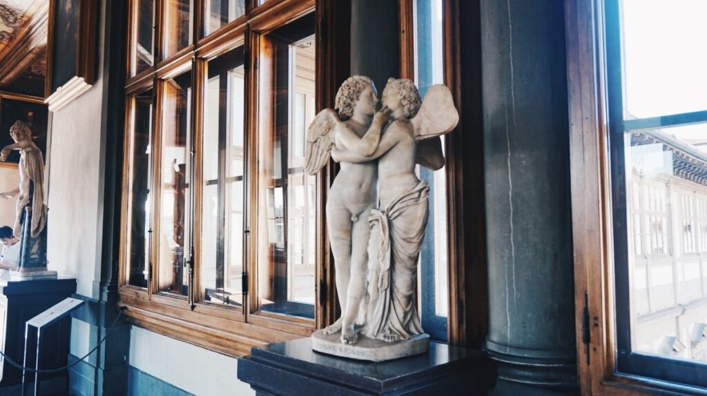 The sculpture of Angels in the Uffizi Gallery in Florence