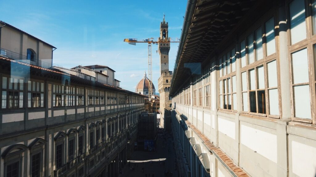 The view of Palazzo Vecchio and Duomo from the Uffizi Gallery