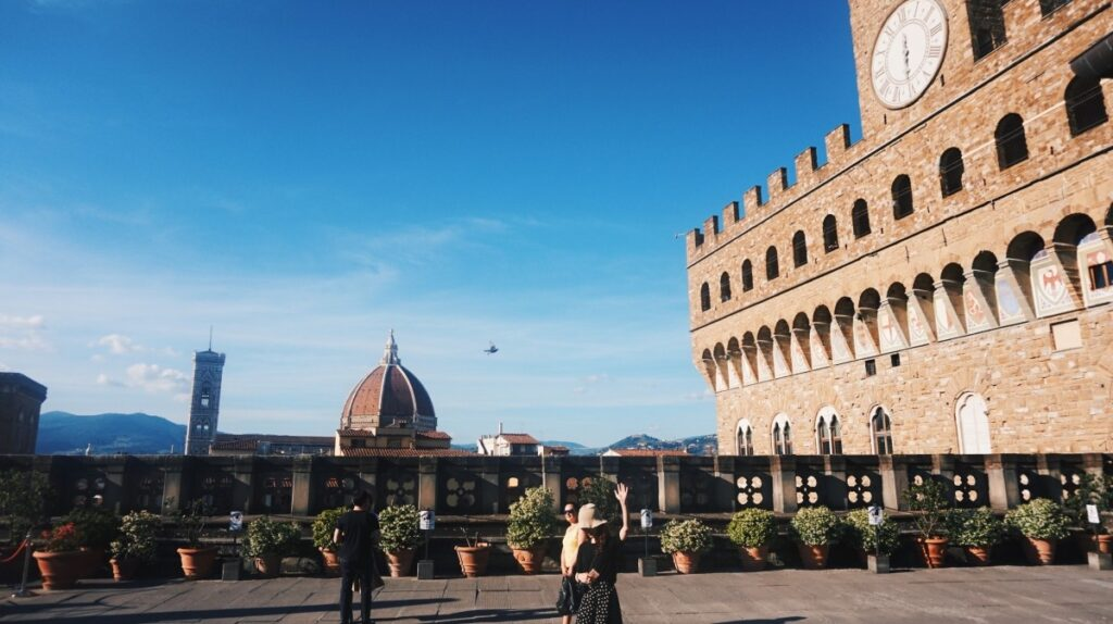The amazing view of Duomo and Palazzo Vecchio from the Uffizi Gallery