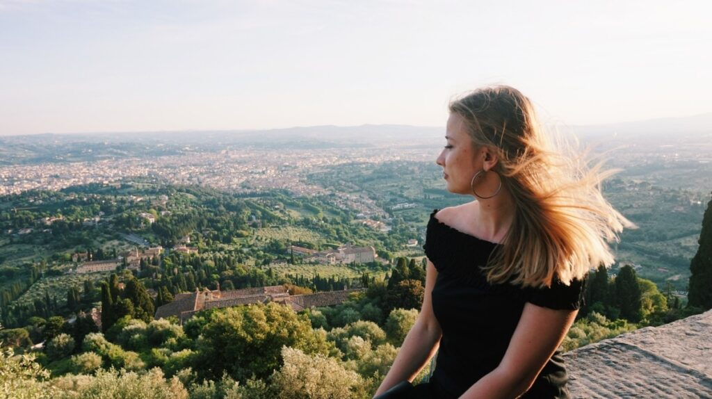 The view of Fiesole with a girl