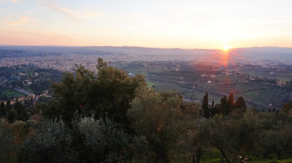 Beautiful sunset in Fiesole