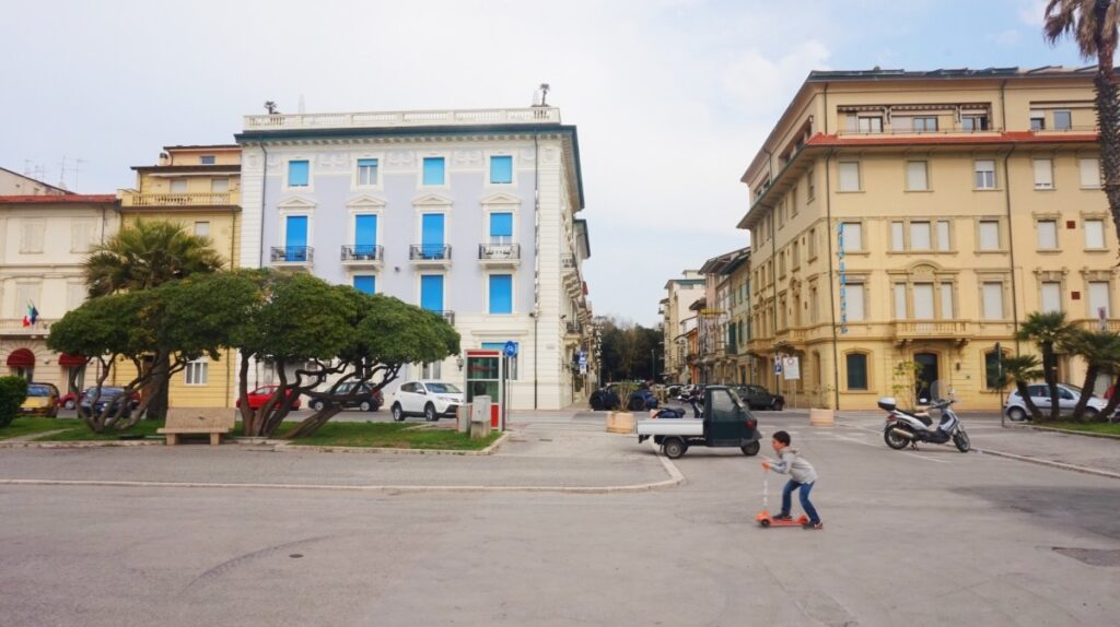Buildings and boy in Viareggio