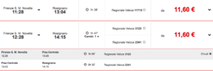 Rozkład jazdy pociągów do Rosignano