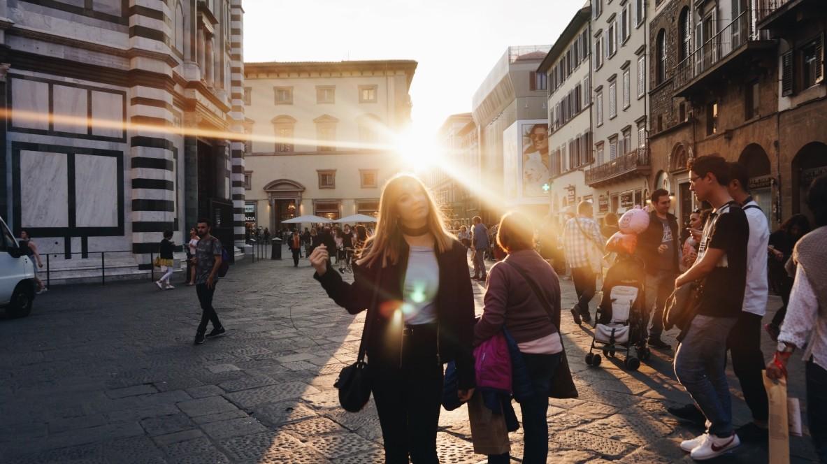 Zachód słońca przy Duomo we Florencji