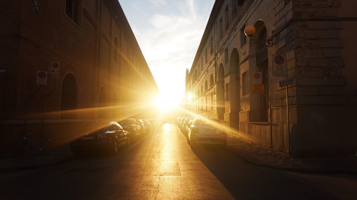 Piękny zachód słońca we Florencji