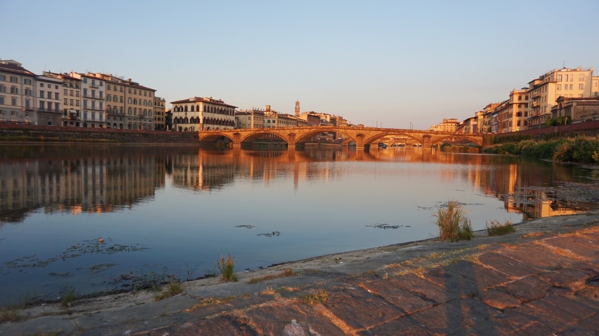 Sunset by Arno River, in Florence