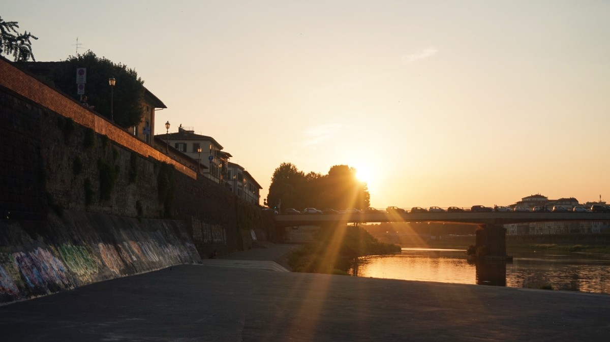 Beautiful sunset by Arno River in Florence