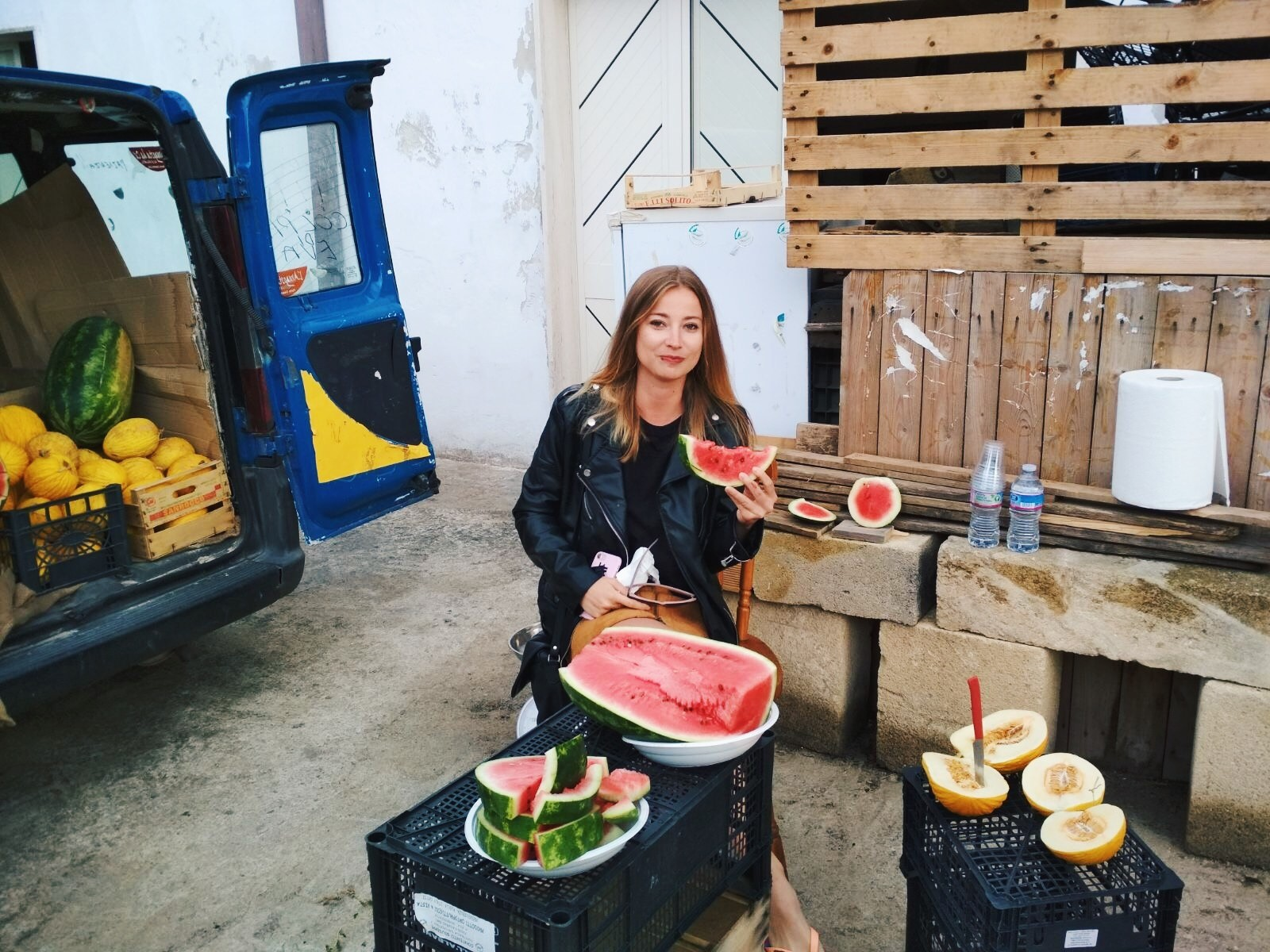 Me eating watermelons in Torre Lapillo in Italy