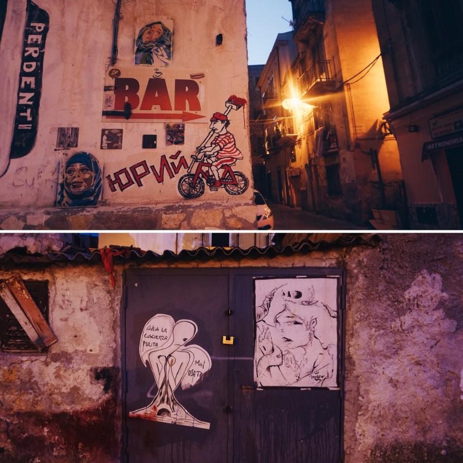 Street-art in Ballaro in Palermo
