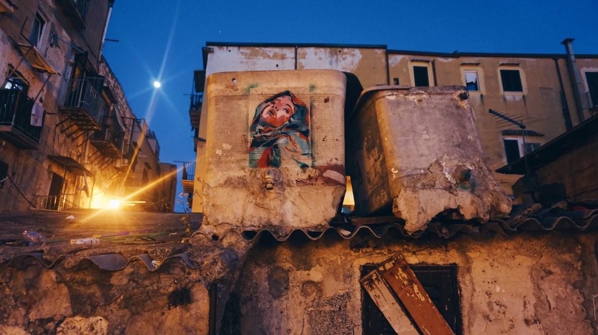Street art in Ballaro market in Palermo