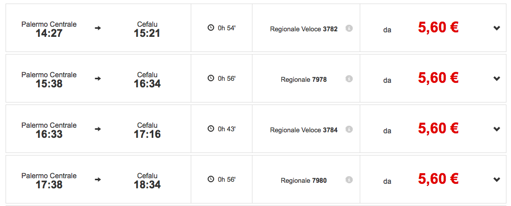 Timetable - Palermo - Cefalu