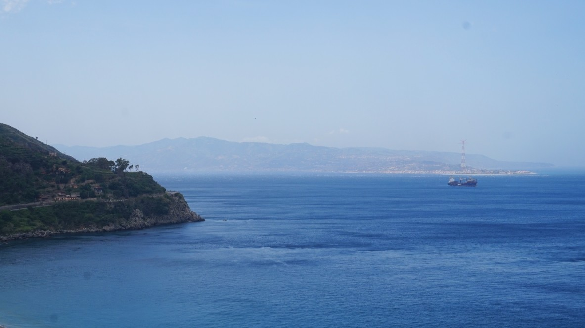 The view of Sicily from Scilla in Italy
