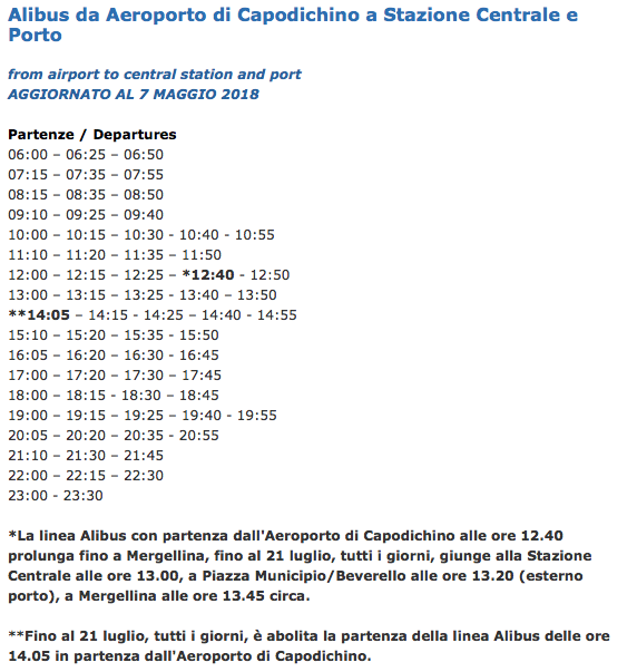 Timetable of Alibus